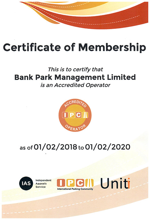 Bank Park IPC certificate